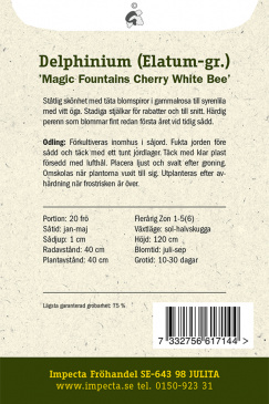 Trädgårdsriddarsporre 'Magic Fountains Cherry White Bee'