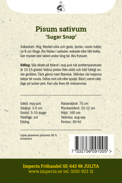 Brytsockerärt 'Sugar Snap'