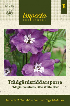 Trädgårdsriddarsporre 'Magic Fountains Lilac White Bee',  fröpåse Impecta