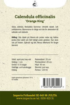 Ringblomma 'Orange King' Impecta odlingsanvisning