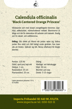 Ringblomma 'Black-Centered Orange Princess' Impecta odlingsanvisning