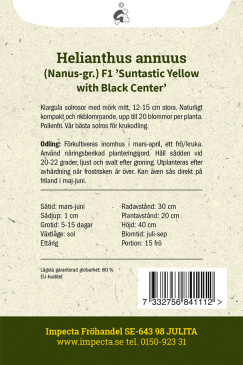 Kruksolros F1 Suntastic Yellow with Black Center fröpåse baksida Impecta