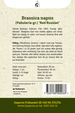 Grönkål 'Red Russian' Impecta odlingsanvisning