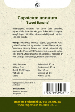 Chilipeppar Sweet Banana fröpåse baksida Impecta