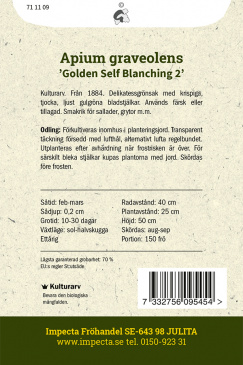 Blekselleri 'Golden Self Blanching 2' Impecta fröpåse odlingsanvisning