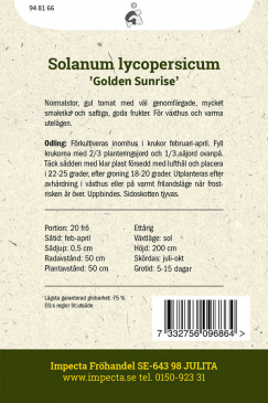 Tomat Golden Sunrise, fröpåse baksida Impecta